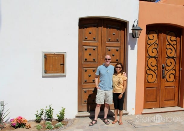"Loni and I outside our little ""Casa De Lagarta Azul""."