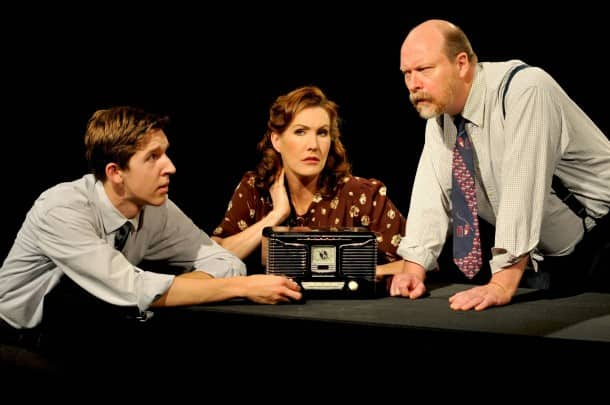 "From left, Weston Gaylord, Courtney Walsh and Tom Freeland appear in Stanford Repertory Theater's ""War of the Worlds,"" based on works by Orson Welles and H.G. Wells"