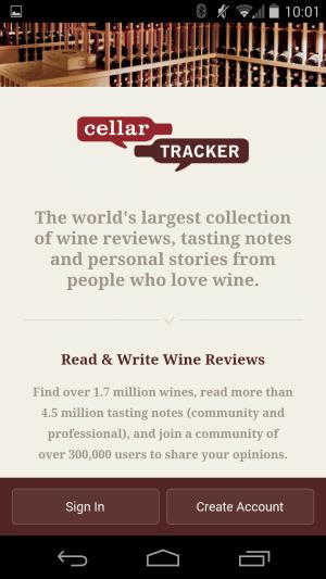 CellarTracker App Review - Sign In Screen