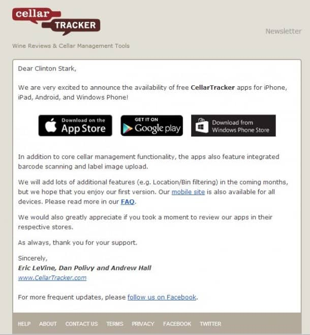 CellarTracker App - iPhone/iPad, Android, Windows Phone