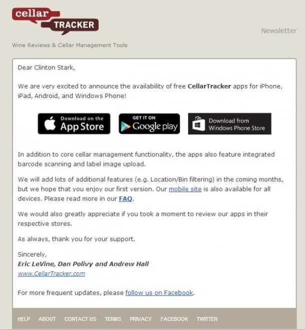 CellarTracker App - iPhone/iPad, Android, Windows Phone