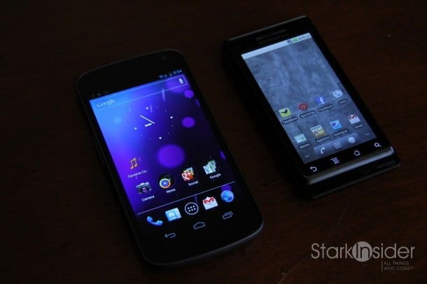 Samsung Galaxy Nexus (2011) on left with Motorola Droid (OG Droid, 2009).
