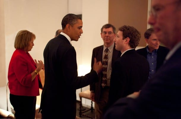 Facebook CEO Mark Zuckerberg with President Obama