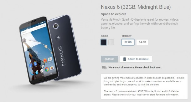 Nexus 6 on Google Play Store