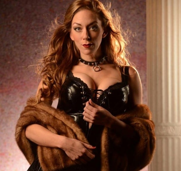 Allison F. Rich as Vanda in VENUS IN FUR at San Jose Stage Company.