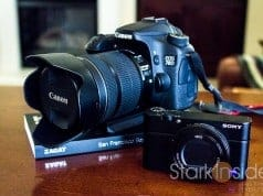 Sony RX100 IV next to Canon EOS 70D