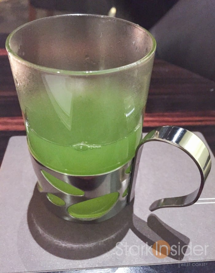 Started the evening with some green tea. I was mesmerized by the intense green.
