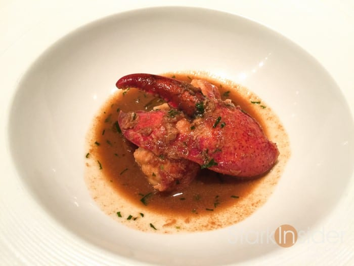 Braised Canadian Lobster with Tarragon. I really enjoyed this dish. While the lobster was good, it was the sauce of preserved Meyer lemon and tarragon which I enjoyed the most. I was brought a side of bread to soak up all the juices.