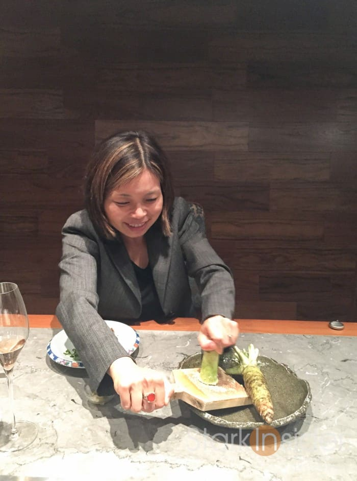 I couldn't help it. I asked if I could try grating the wasabi. As a lover of sushi, it was a fun experience to have grated real wasabi.