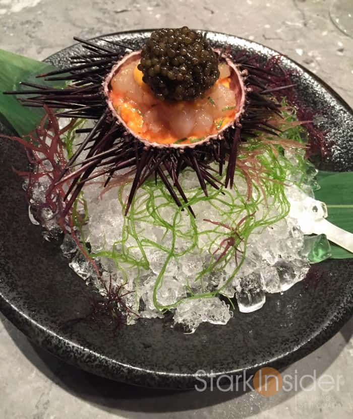Marinated Botan Shrimp with Sea Urchin and Oscietra Caviar. This is Chef Tetsuya's signature dish. The shrimp is sourced from Canada, sea urchin from Japan and caviar from France. Given that Waku Ghin is in Singapore, this is quite the feat. The presentation is stunning and thoughtful. For example, the mother of pearl spoon one uses to eat this dish is chilled in ice. I thought the coolness of the spoon somehow made this indulgent trio evermore luxurious. Some have noted that this dish which pairs 3 great ingredients requires little culinary skill for a restaurant which is suppose to showcase culinary mastery to command such prices. I disagree. I think true art also requires understanding of restraint and balance. Why adulterate a perfect combination? Chef Jason also shared with me that the marination of the shrimp is key. There are key ingredients that go into this to make sure the flavors and richness of the sea urchin does not overpower the delecate flavors of the shrimp. From texture to taste to style, I could easily see why this is the signature dish.