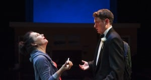 l-r, Beth (Jamie Jones*) enjoys the joint she scores from teenaged dealer Jonathan (Devin O'Brien) in Aurora Theatre Company's Bay Area Premiere of Mud Blue Sky