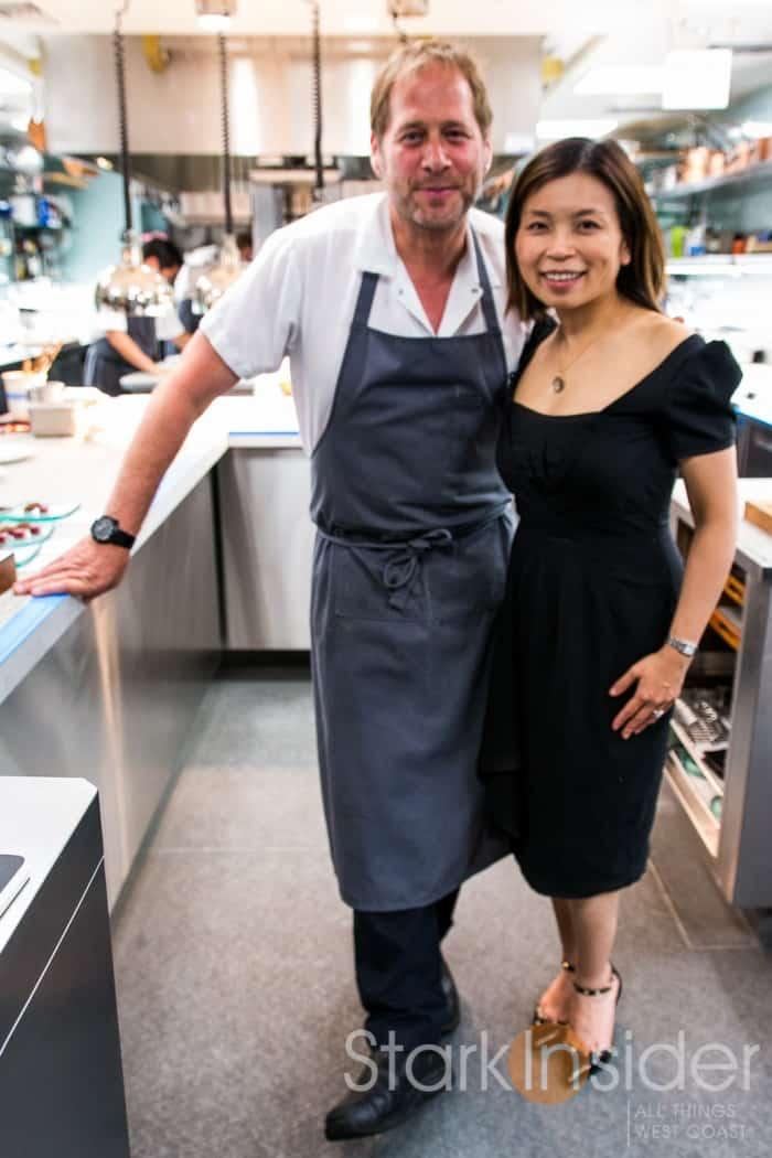 David Kinch gives Loni Stark a tour of the kitchen at Manresa.