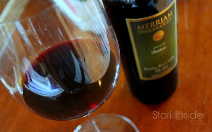 Merriam Vineyards Cabernet - Glass and bottle together in a photo