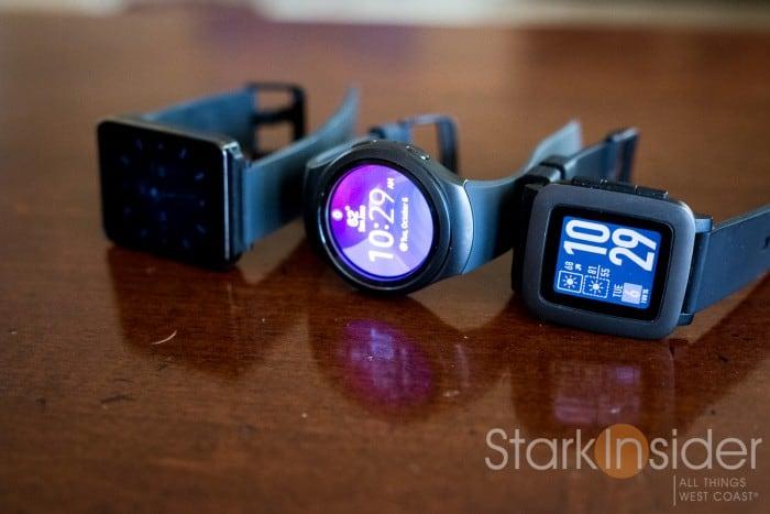 LG G Watch, Samsung Gear S2, Pebble Time.