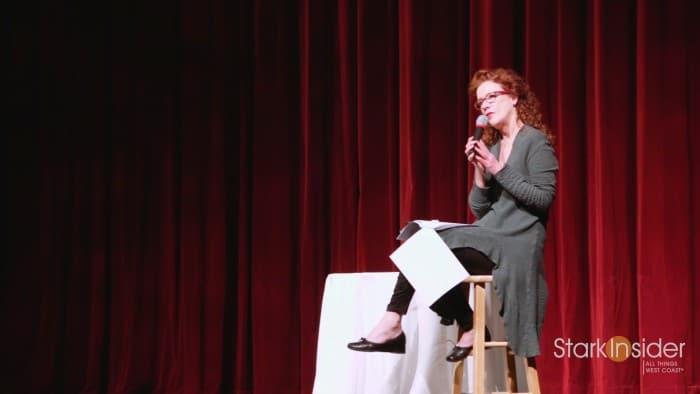Karen MacNeil giving a keynote at CabFest in Napa.