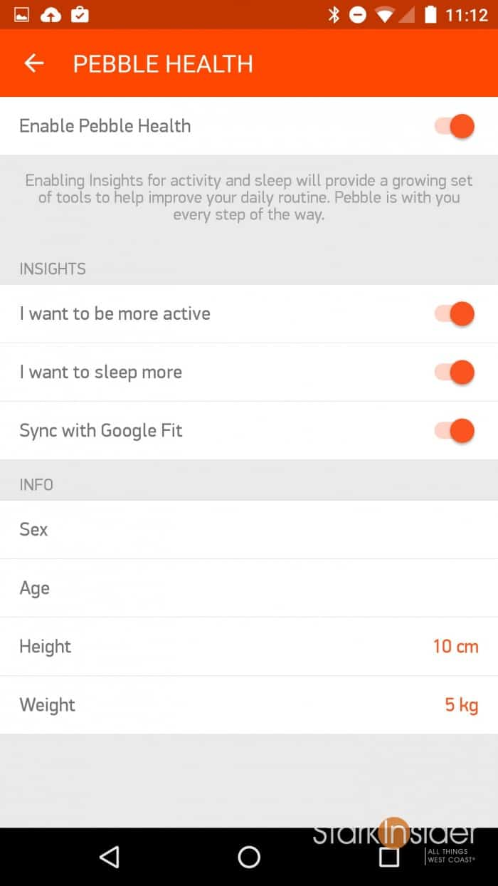 Pebble Health app for Android