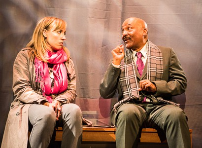 Pictured left to right: Melissa Keith as Annie and Darryl V. Jones* as Alemu in THE CALL by Tanya Barfield Directed by Jon Wai-keung Lowe. A Theatre Rhinoceros Production at the Eureka Theatre. Photo by David Wilson. *Member, Actors Equity Association