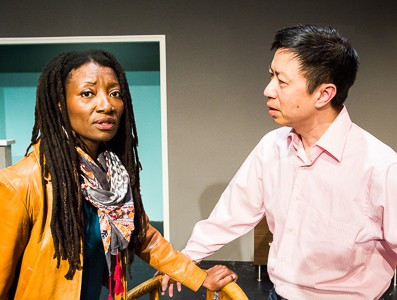 Pictured left to right: Nkechi Emeruwa as Rebecca and Hawlan Ng as Peter in THE CALL by Tanya Barfield Directed by Jon Wai-keung Lowe. A Theatre Rhinoceros Production at the Eureka Theatre. Photo by David Wilson.