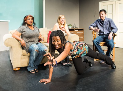 Pictured left to right: Alexaendrai Bond as Drea, Nkechi Emeruwa as Rebecca, Melissa Keith as Annie and Hawlan Ng as Peter in THE CALL by Tanya Barfield Directed by Jon Wai-keung Lowe. A Theatre Rhinoceros Production at the Eureka Theatre. Photo by David Wilson.