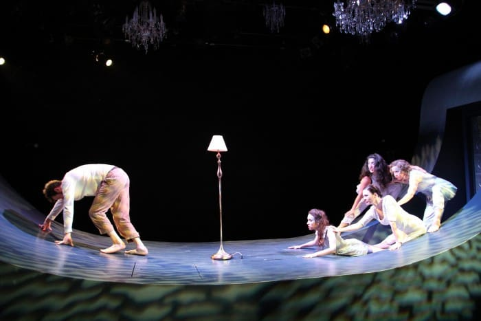 Ondine (c. Jessica Waldman) and her sisters (clockwise) Mist (Marilet Martinez), Ice (Danielle O'Hare), and Rain (Molly Benson) taunt Hildebrand (l. Kenny Toll) as he tries to escape in Cutting Ball's World Premiere of Ondine. Photo: Rob Melrose