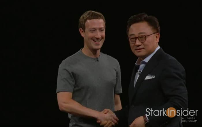 Mark Zuckerberg (Facebook) and DJ Koh (Samsung) co-present at MWC Barcelona 2016.