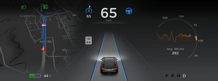 Tesla Autopilot user interface