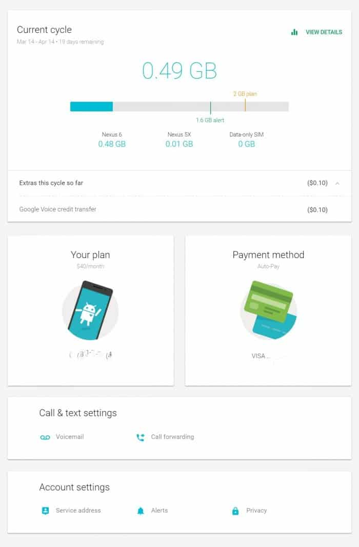 Project Fi Account Dashboard
