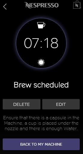 Nespresso App for iPhone - Schedule Brewing screen