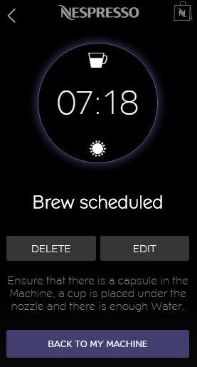 Nespresso App for iPhone - Schedule Brewing screen