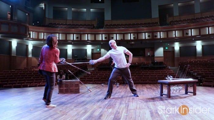 Loni Stark with Jonathan Rider on set of Cyrano