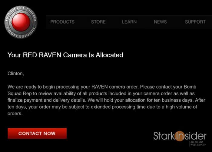 RED Raven allocation email - Stark Insider