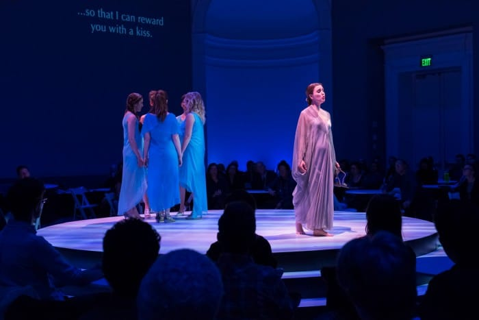 Ana Sokolovi?'s Svadba–Wedding, conducted by Dáirine Ní Mheadhra and directed by Michael Cavanagh. The cast features Jacqueline Woodley(as the bride, Milica), Liesbeth Devos (Danica), Laura Albino (Lena), Pauline Sikirdji (Zora), Andrea Ludwig (Nada) and Krisztina Szabó (Ljubica). On Thrusday night March 31, 2016 at Taube Atrium Theater in the Wilsey Center for Opera.