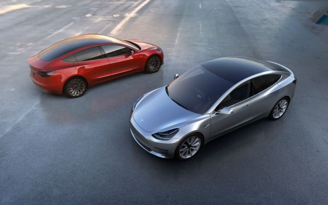 Tesla Model 3 in Red and Silver - Exterior