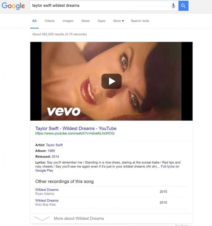 Google-Taylor-Swift-Wildest-Dreams-YouTube-Vevo