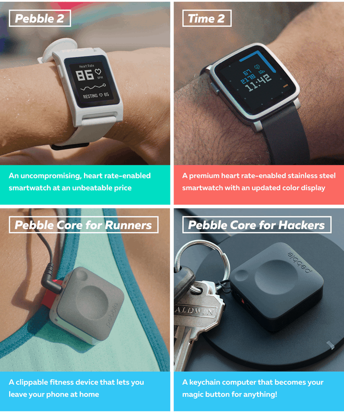 New Pebble 2, Pebble Time 2, Pebble Core Smartwatches and Wearables