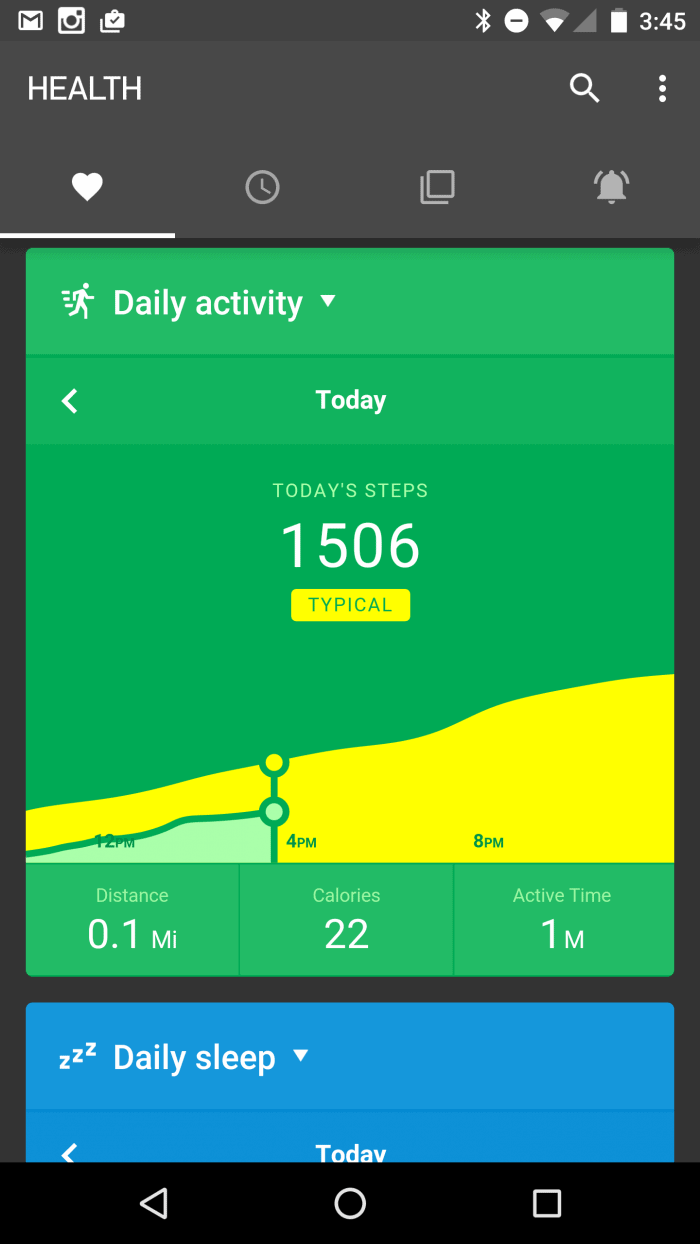 Pebble Health Tab