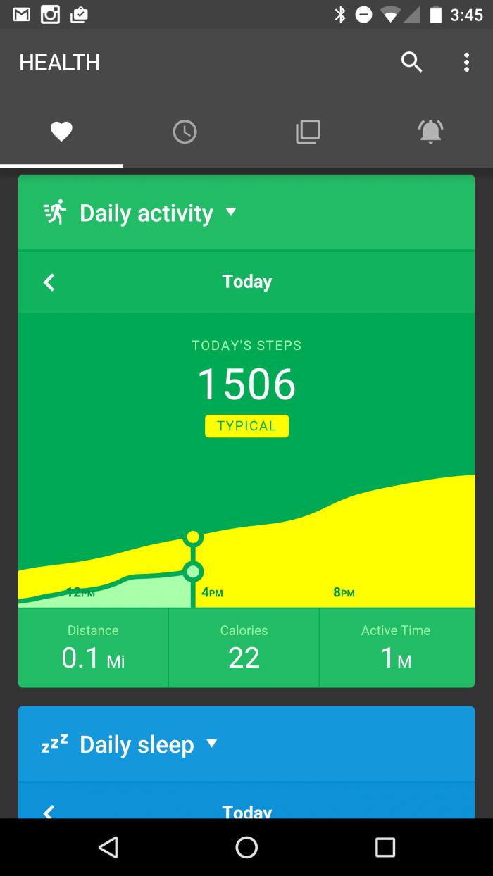 Pebble Health Tab