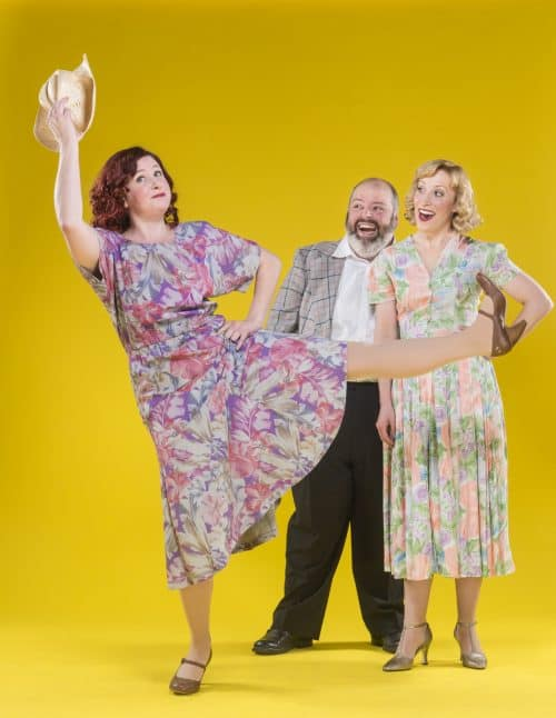 (l-r) Nicole Frydman (as Cleo) kicks up her heels as Martin Rojas Dietrich (as Tony) and Amanda Johnson (as Rosabella) watch in 42nd Street Moon's production of THE MOST HAPPY FELLA, running April 27-May 15, 2016 at the Eureka Theatre. Photo credit: David Allen