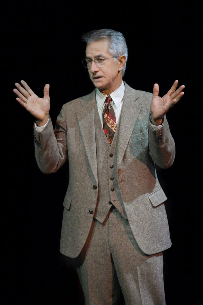 Dr. Philip Cotton (played by David Strathairn) describes the extent of the injuries suffered by his patient, Chester Bailey, in the world premiere staging of Joseph Dougherty's Chester Bailey playing now through June 12, 2016 at A.C.T.'s Strand Theater. Photo by Kevin Berne