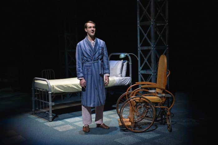 Chester Bailey (played by Dan Clegg) describes the events before his devastating injuries in the world premiere staging of Joseph Dougherty's Chester Bailey playing now through June 12, 2016 at A.C.T.'s Strand Theater. Photo by Kevin Berne