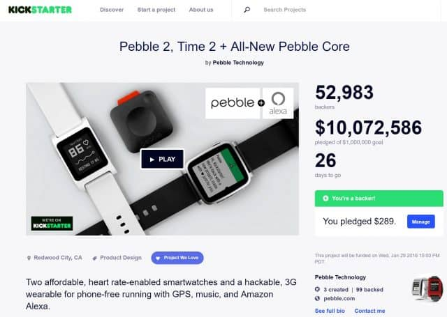 Pebble 2 Kickstarter Campaign Breaks $10 million