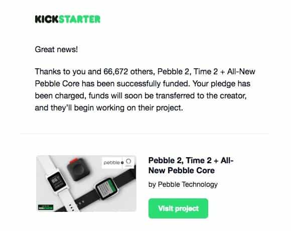 Pebble 2016 Kickstarter Campaign email results