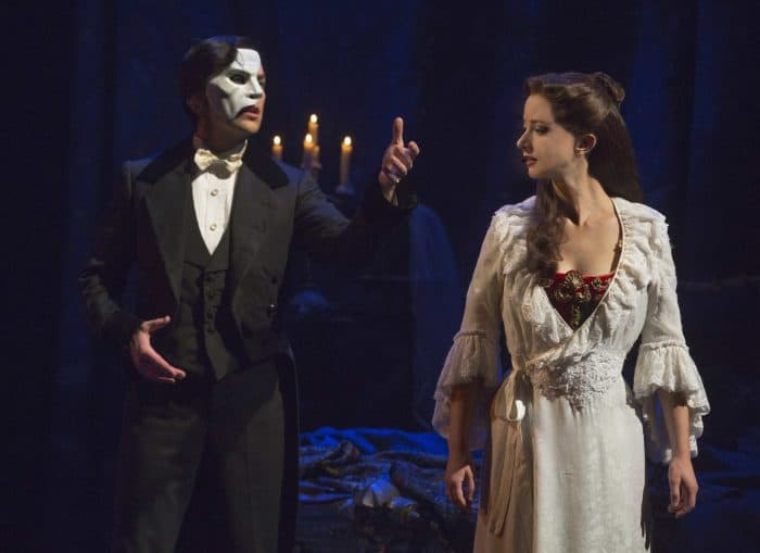 Chris Mann as The Phantom and Katie Travis as Christine Daaé. Photo credit: Matthew Murphy