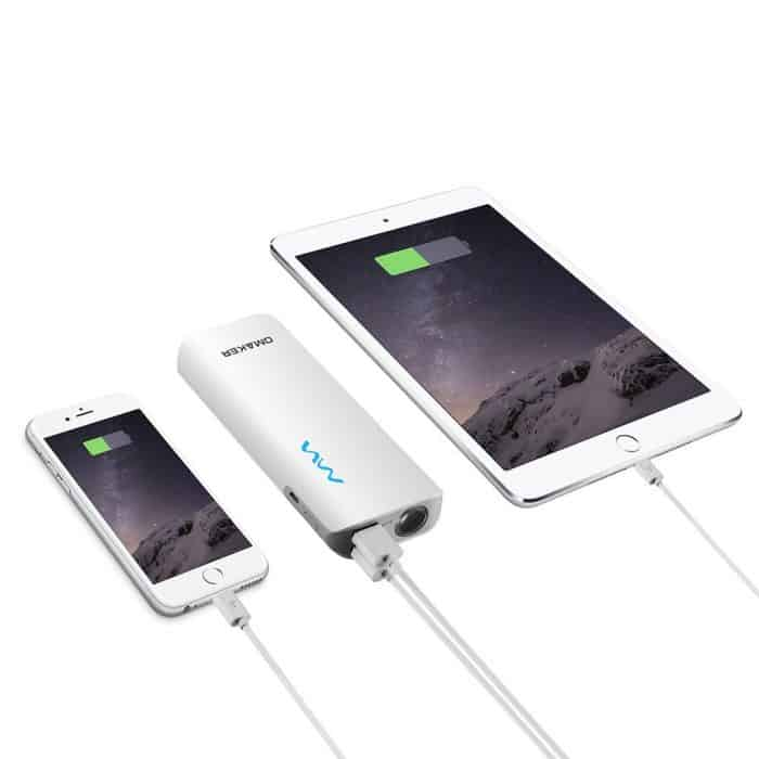 Roll over image to zoom in Omaker Intelligent 10000mAh(2.1Amp+2.1Amp Output) Portable Charger External Battery Pack with Flashlight-White