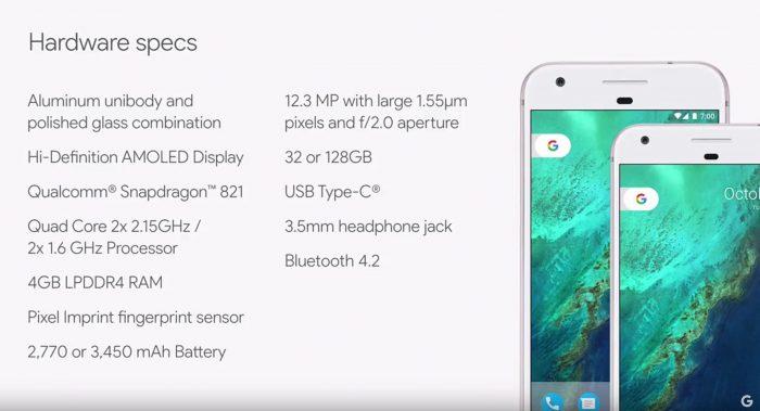 Google Pixel - Hardware specs