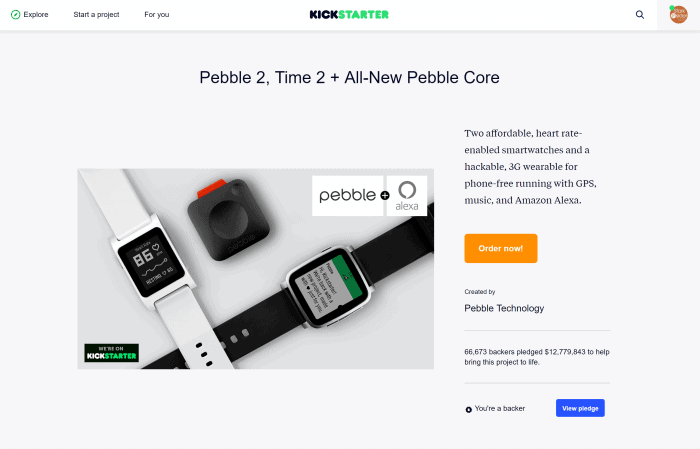 Kickstarter - Pebble 2, Time 2 + All-New Pebble Core
