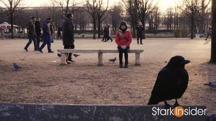 Loni Stark on park bench in Paris