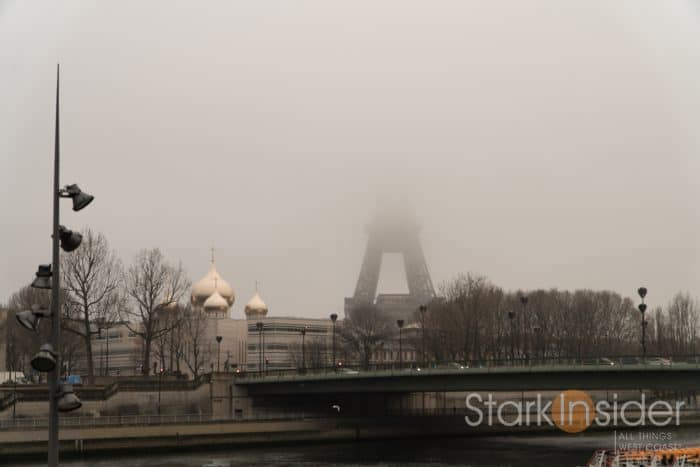 Scene from 3 Days in Paris - Effiel Tower in fog