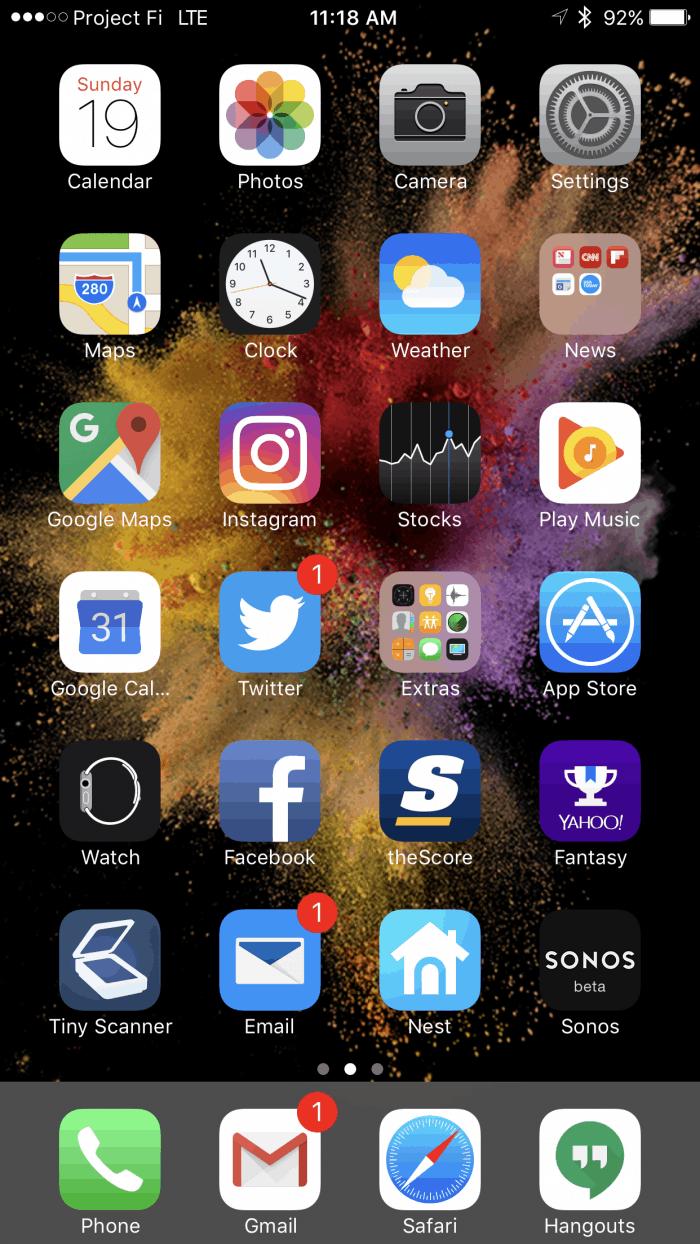 Apple iPhone 7 Plus Home Screen