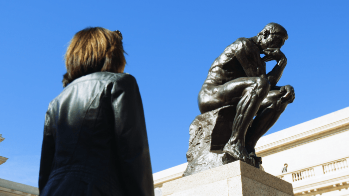 """""""The Thinker"""" by Rodin at the Legion of Honor, San Francisco."""
